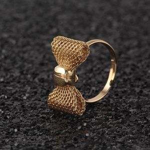 Gold Mesh Bow Adjustable Ring
